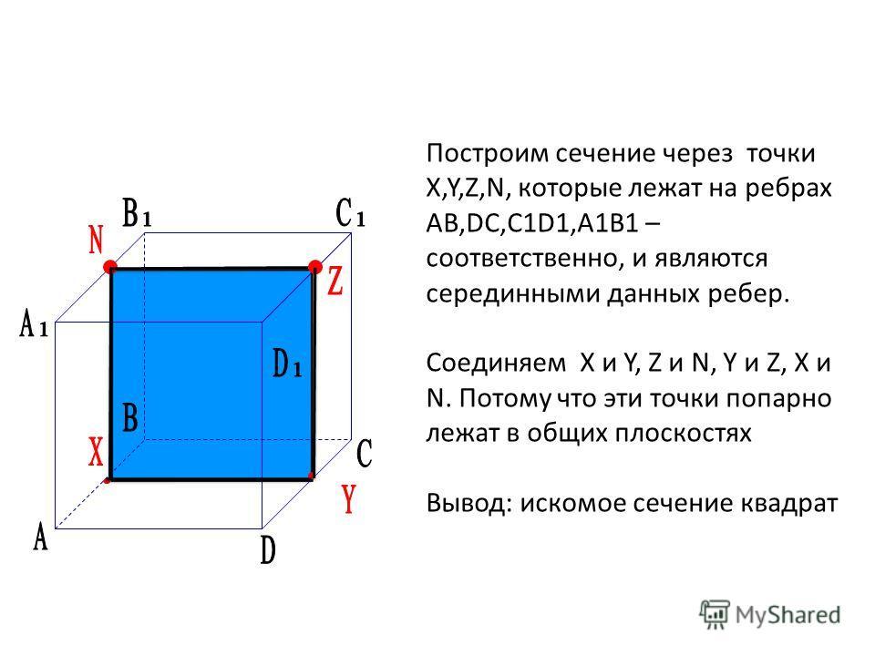 Построим сечение через точки X,Y,Z,N, которые лежат на ребрах АВ,DC,C1D1,A1B1 – соответственно, и являются серединными данных ребер. Соединяем X и Y, Z и N, Y и Z, X и N. Потому что эти точки попарно лежат в общих плоскостях Вывод: искомое сечение кв