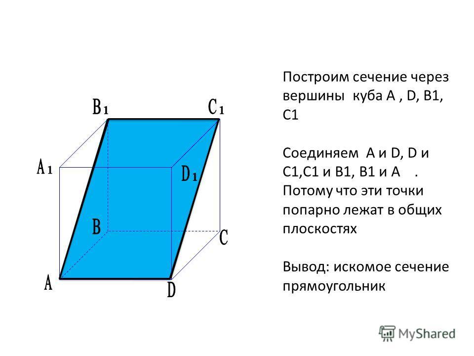 Построим сечение через вершины куба А, D, B1, C1 Соединяем A и D, D и C1,C1 и B1, B1 и A. Потому что эти точки попарно лежат в общих плоскостях Вывод: искомое сечение прямоугольник