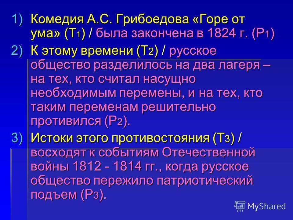 1)Комедия А.С. Грибоедова «Горе от ума» (Т 1 ) / была закончена в 1824 г. (Р 1 ) 2)К этому времени (Т 2 ) / русское общество разделилось на два лагеря – на тех, кто считал насущно необходимым перемены, и на тех, кто таким переменам решительно противи