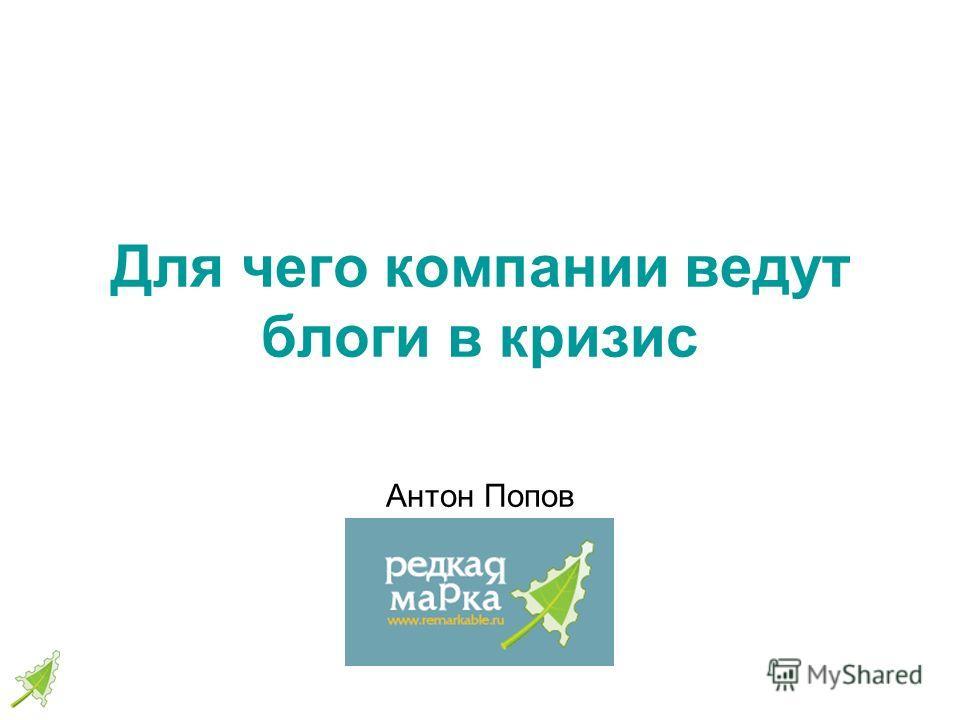 Для чего компании ведут блоги в кризис Антон Попов