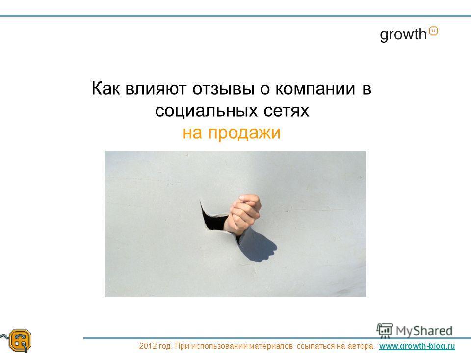 Как влияют отзывы о компании в социальных сетях на продажи 2012 год. При использовании материалов ссылаться на автора. www.growth-blog.ruwww.growth-blog.ru