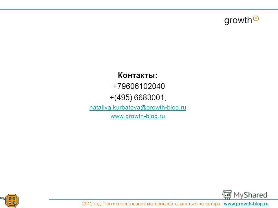 Контакты: +79606102040 +(495) 6683001, nataliya.kurbatova@growth-blog.ru www.growth-blog.ru Growth 2012 год. При использовании материалов ссылаться на автора. www.growth-blog.ruwww.growth-blog.ru