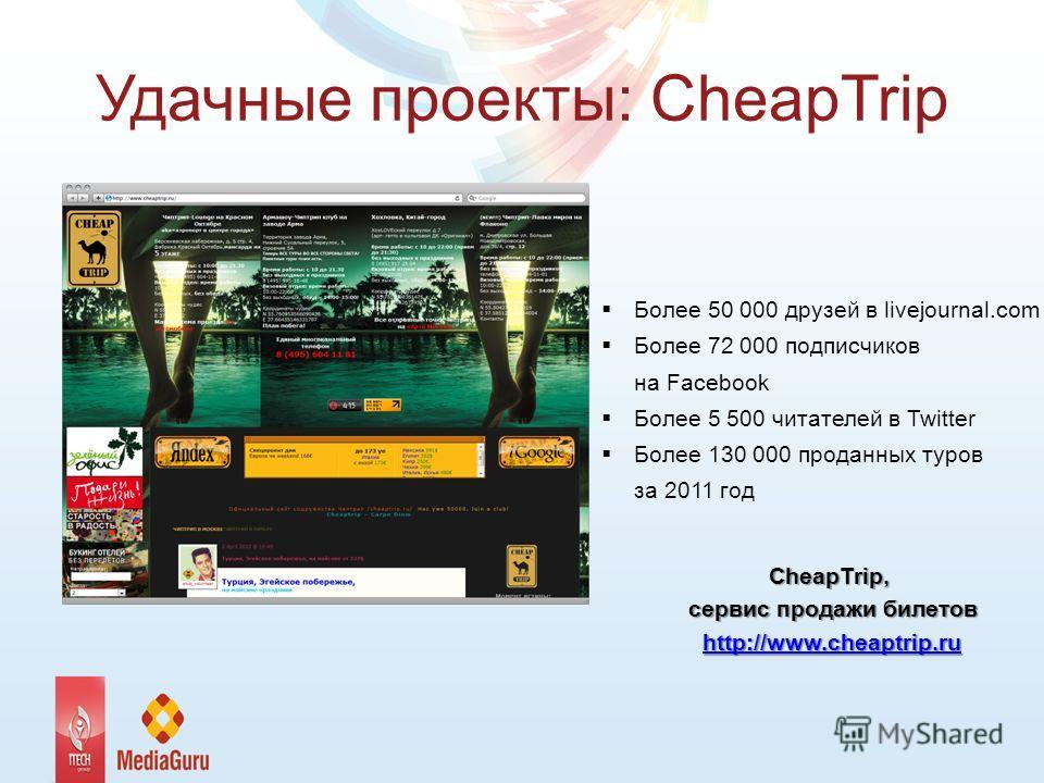 Удачные проекты: CheapTrip Более 50 000 друзей в livejournal.com Более 72 000 подписчиков на Facebook Более 5 500 читателей в Twitter Более 130 000 проданных туров за 2011 год CheapTrip, сервис продажи билетов http://www.cheaptrip.ru
