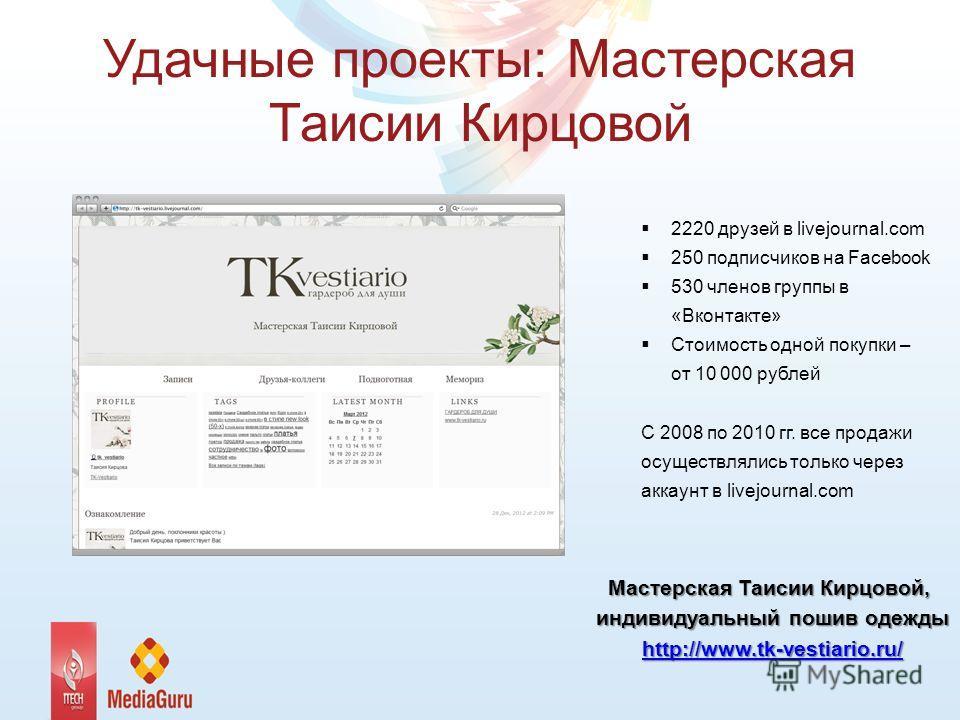 Удачные проекты: Мастерская Таисии Кирцовой 2220 друзей в livejournal.com 250 подписчиков на Facebook 530 членов группы в «Вконтакте» Стоимость одной покупки – от 10 000 рублей С 2008 по 2010 гг. все продажи осуществлялись только через аккаунт в live