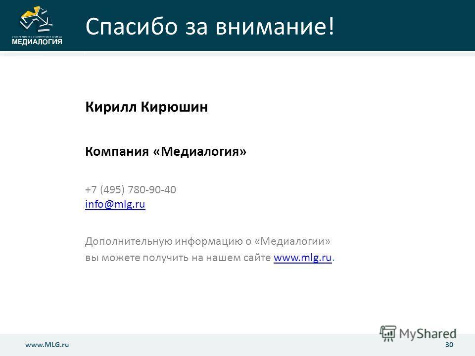 www.MLG.ru30 www.MLG.ru Спасибо за внимание! Кирилл Кирюшин Компания «Медиалогия» +7 (495) 780-90-40 info@mlg.ru info@mlg.ru Дополнительную информацию о «Медиалогии» вы можете получить на нашем сайте www.mlg.ru.www.mlg.ru