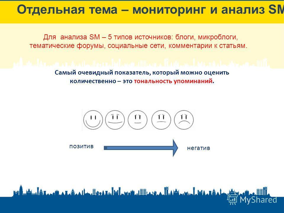 Отдельная тема – мониторинг и анализ SM Самый очевидный показатель, который можно оценить количественно – это тональность упоминаний. позитив негатив Для анализа SM – 5 типов источников: блоги, микроблоги, тематические форумы, социальные сети, коммен