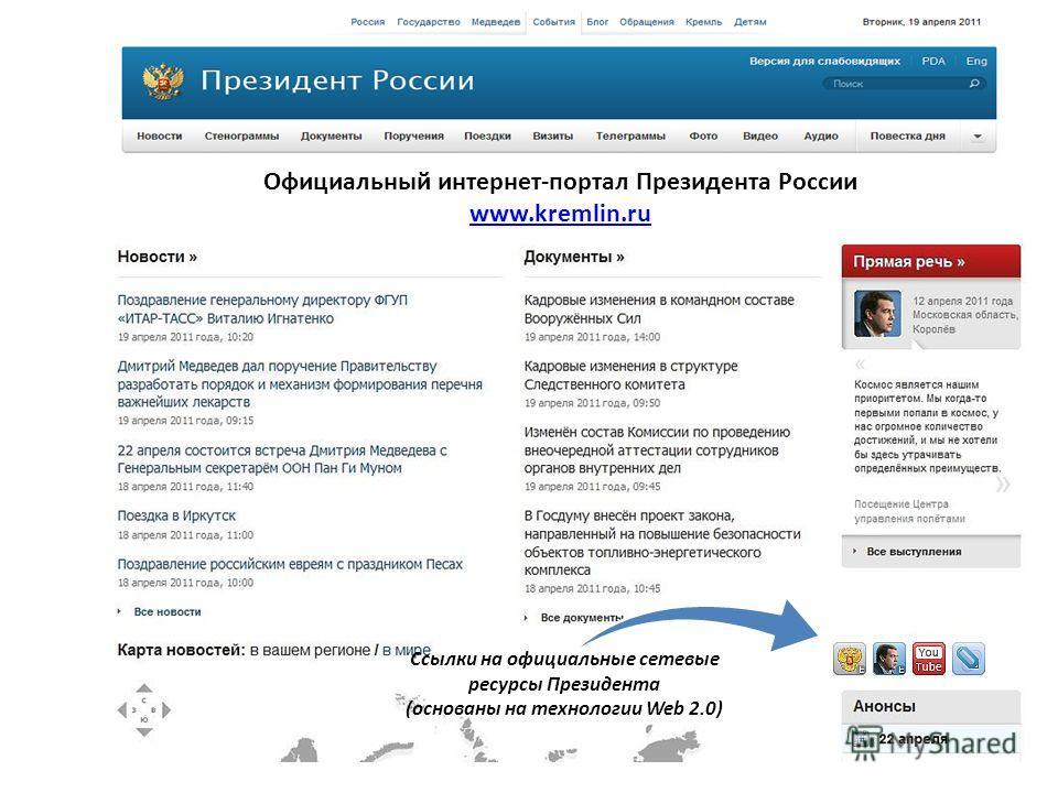 Официальный интернет-портал Президента России www.kremlin.ru Ссылки на официальные сетевые ресурсы Президента (основаны на технологии Web 2.0)