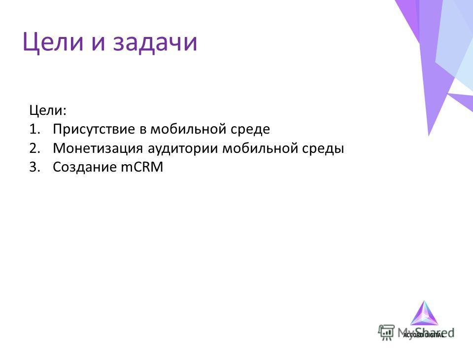 Цели и задачи Цели: 1.Присутствие в мобильной среде 2.Монетизация аудитории мобильной среды 3.Создание mCRM