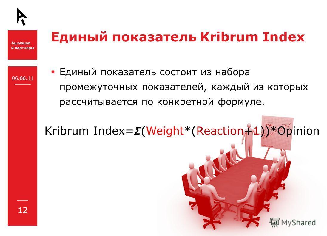 Единый показатель Kribrum Index Единый показатель состоит из набора промежуточных показателей, каждый из которых рассчитывается по конкретной формуле. 12 06.06.11 Kribrum Index=(Weight*(Reaction+1))*Opinion
