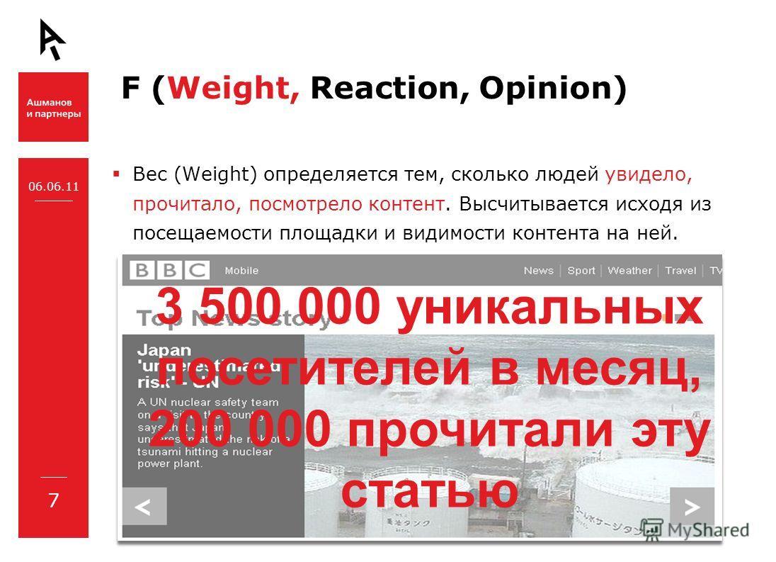 F (Weight, Reaction, Opinion) Вес (Weight) определяется тем, сколько людей увидело, прочитало, посмотрело контент. Высчитывается исходя из посещаемости площадки и видимости контента на ней. 06.06.11 7 3 500 000 уникальных посетителей в месяц, 200 000