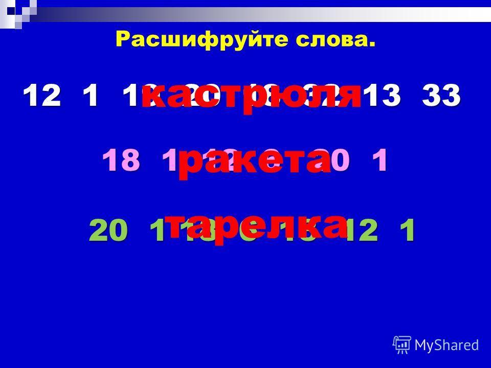 18 1 12 6 20 1 Расшифруйте слова. 12 1 19 20 18 32 13 33 кастрюля ракета 20 1 18 6 13 12 1 тарелка