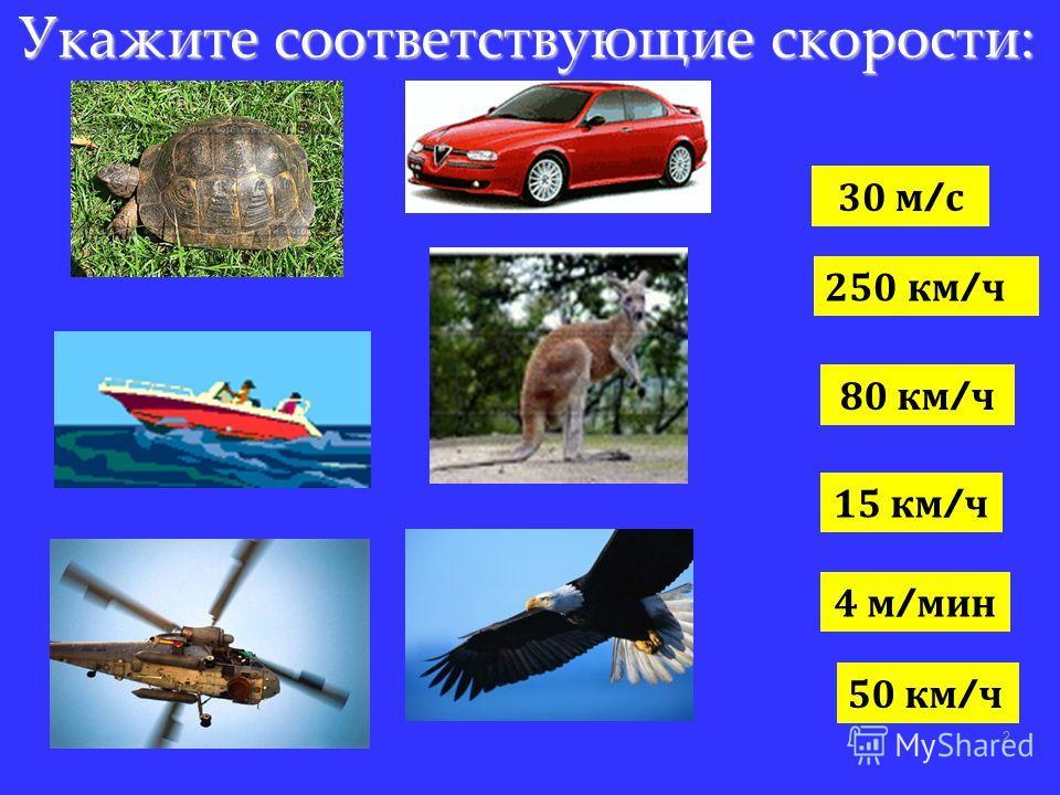 Укажите соответствующие скорости: 2 30 м / с 250 км / ч 80 км / ч 15 км / ч 4 м / мин 50 км / ч