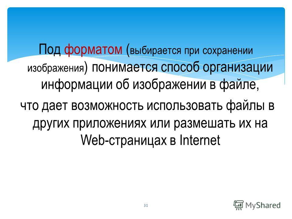 Под форматом ( выбирается при сохранении изображения ) понимается способ организации информации об изображении в файле, что дает возможность использовать файлы в других приложениях или размешать их на Web-страницах в Internet 31