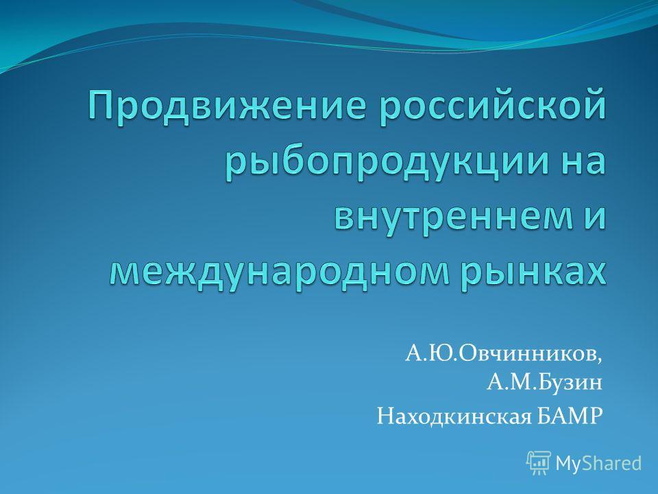 А.Ю.Овчинников, А.М.Бузин Находкинская БАМР