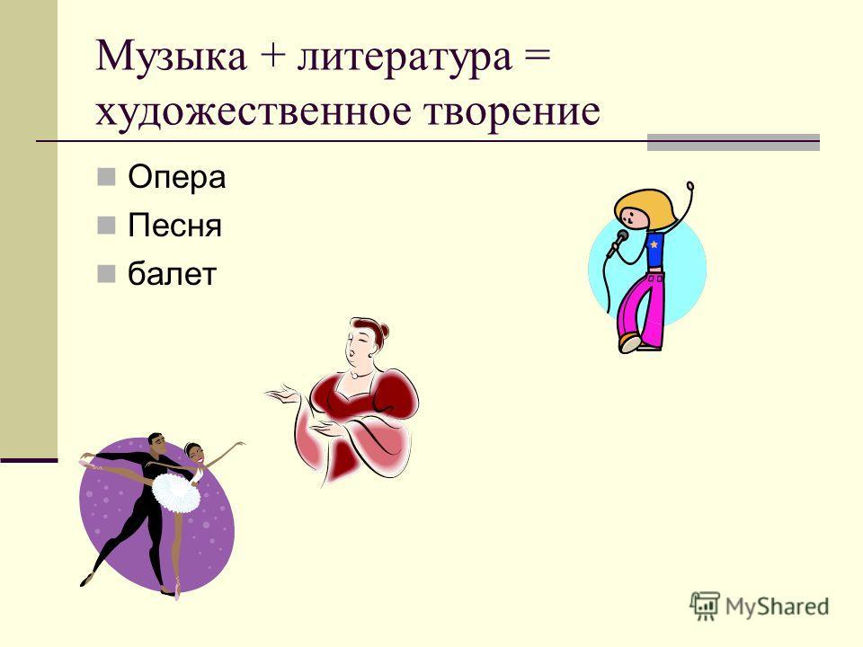 Музыка + литература = художественное творение Опера Песня балет