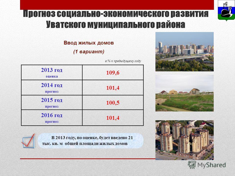 Ввод жилых домов (1 вариант) Прогноз социально-экономического развития Уватского муниципального района В 2013 году, по оценке, будет введено 21 тыс. кв. м общей площади жилых домов 2013 год оценка 109,6 2014 год прогноз 101,4 2015 год прогноз 100,5 2