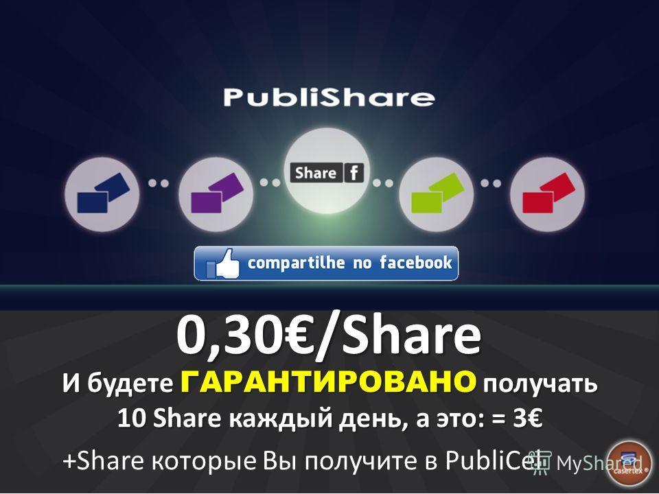 0,30/Share И будете ГАРАНТИРОВАНО получать 10 Share каждый день, а это: = 3 +Share которые Вы получите в PubliCel