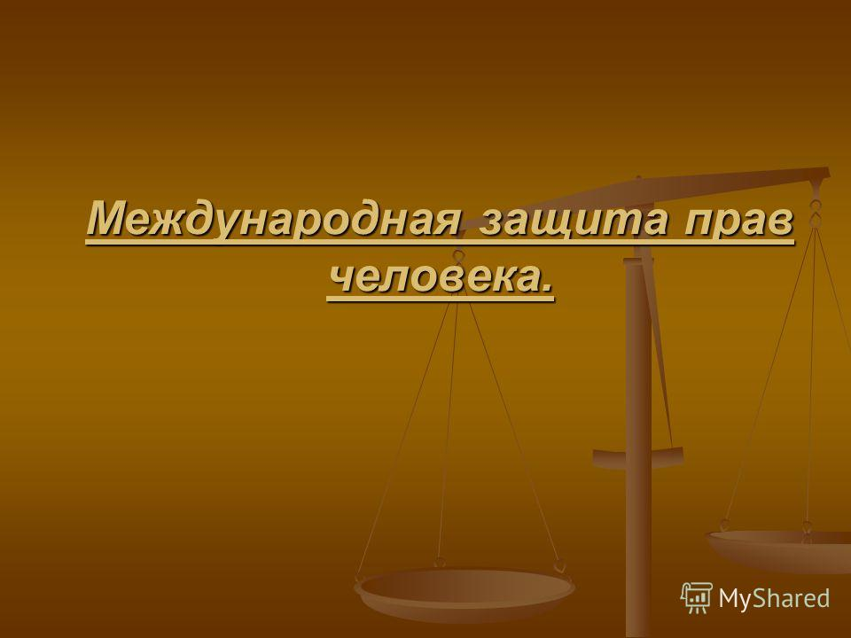 Международная защита прав человека.