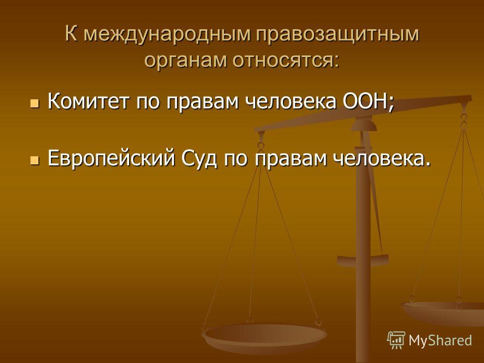 К международным правозащитным органам относятся: Комитет по правам человека ООН; Комитет по правам человека ООН; Европейский Суд по правам человека. Европейский Суд по правам человека.