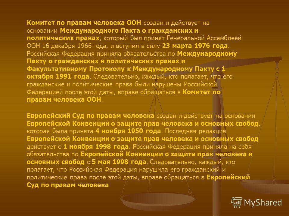 Комитет по правам человека ООН создан и действует на основании Международного Пакта о гражданских и политических правах, который был принят Генеральной Ассамблеей ООН 16 декабря 1966 года, и вступил в силу 23 марта 1976 года. Российская Федерация при