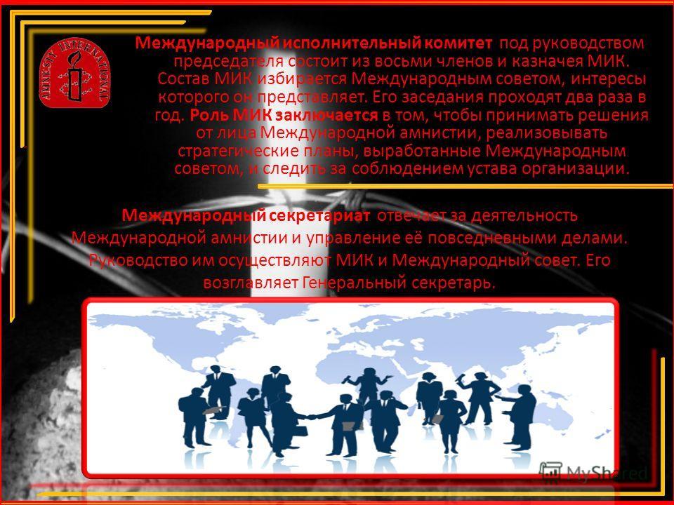 Международный исполнительный комитет под руководством председателя состоит из восьми членов и казначея МИК. Состав МИК избирается Международным советом, интересы которого он представляет. Его заседания проходят два раза в год. Роль МИК заключается в
