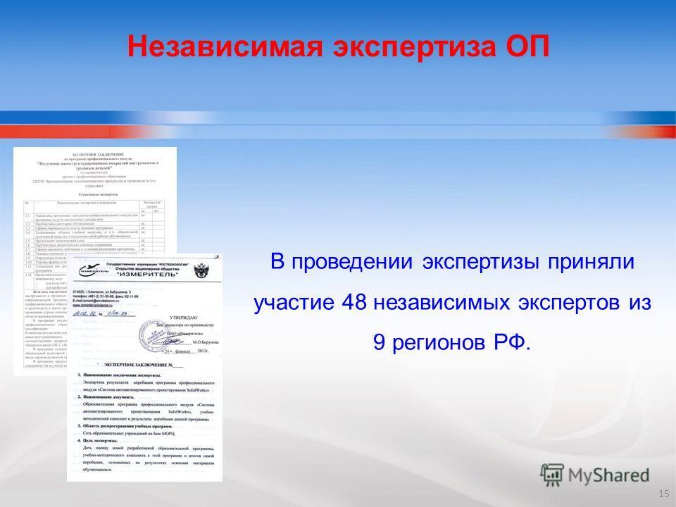 Независимая экспертиза ОП В проведении экспертизы приняли участие 48 независимых экспертов из 9 регионов РФ. 15