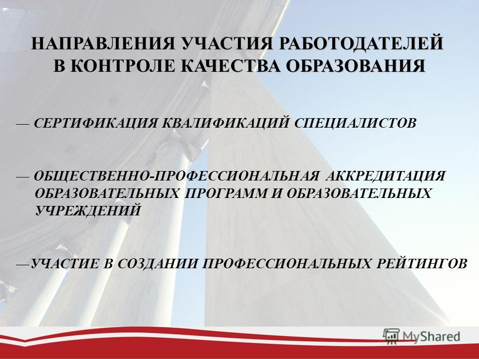 НАПРАВЛЕНИЯ УЧАСТИЯ РАБОТОДАТЕЛЕЙ В КОНТРОЛЕ КАЧЕСТВА ОБРАЗОВАНИЯ СЕРТИФИКАЦИЯ КВАЛИФИКАЦИЙ СПЕЦИАЛИСТОВ ОБЩЕСТВЕННО-ПРОФЕССИОНАЛЬНАЯ АККРЕДИТАЦИЯ ОБРАЗОВАТЕЛЬНЫХ ПРОГРАММ И ОБРАЗОВАТЕЛЬНЫХ УЧРЕЖДЕНИЙ УЧАСТИЕ В СОЗДАНИИ ПРОФЕССИОНАЛЬНЫХ РЕЙТИНГОВ