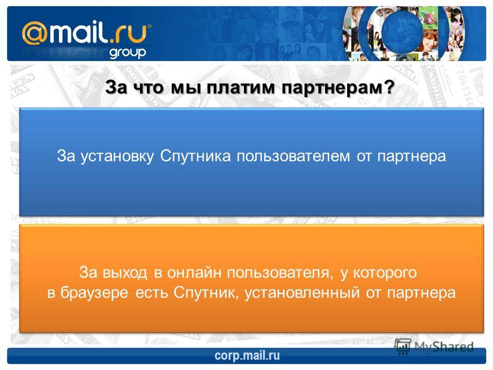 corp.mail.ru За что мы платим партнерам? За установку Спутника пользователем от партнера За выход в онлайн пользователя, у которого в браузере есть Спутник, установленный от партнера За выход в онлайн пользователя, у которого в браузере есть Спутник,