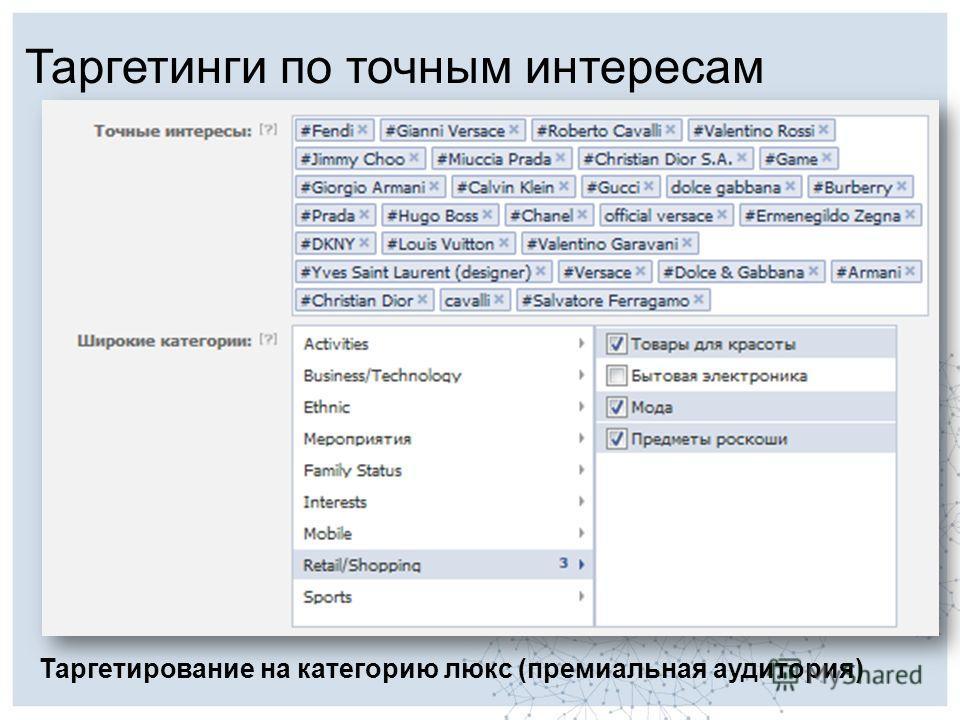 Таргетинги по точным интересам Таргетирование на категорию люкс (премиальная аудитория)