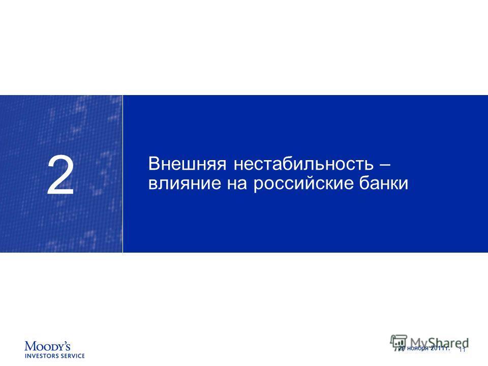 29 ноября 2011 г. Внешняя нестабильность – влияние на российские банки 2 11