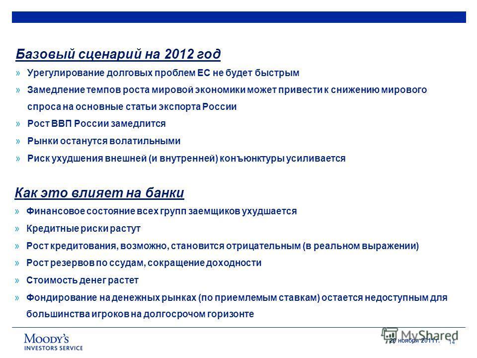 29 ноября 2011 г. 14 Базовый сценарий на 2012 год »Урегулирование долговых проблем ЕС не будет быстрым »Замедление темпов роста мировой экономики может привести к снижению мирового спроса на основные статьи экспорта России »Рост ВВП России замедлится