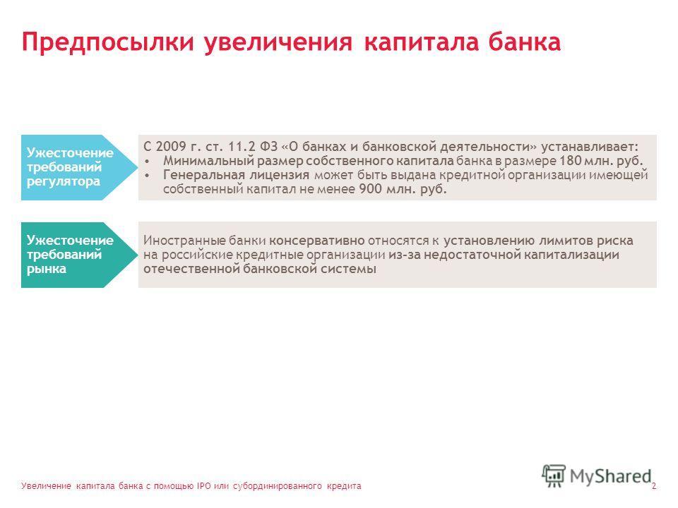 Увеличение капитала банка с помощью IPO или субординированного кредита 2 Предпосылки увеличения капитала банка Ужесточение требований регулятора Иностранные банки консервативно относятся к установлению лимитов риска на российские кредитные организаци