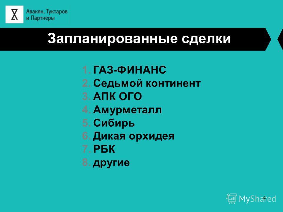Запланированные сделки 1.ГАЗ-ФИНАНС 2.Седьмой континент 3.АПК ОГО 4.Амурметалл 5.Сибирь 6.Дикая орхидея 7.РБК 8.другие 4