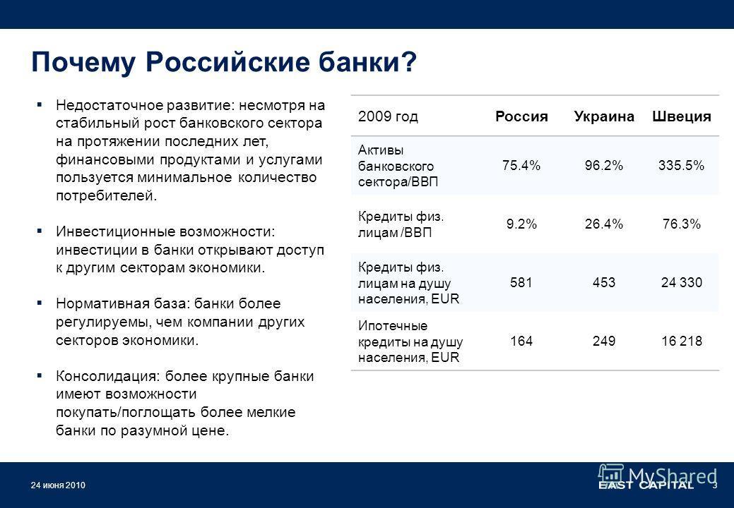 Почему Российские банки? Недостаточное развитие: несмотря на стабильный рост банковского сектора на протяжении последних лет, финансовыми продуктами и услугами пользуется минимальное количество потребителей. Инвестиционные возможности: инвестиции в б