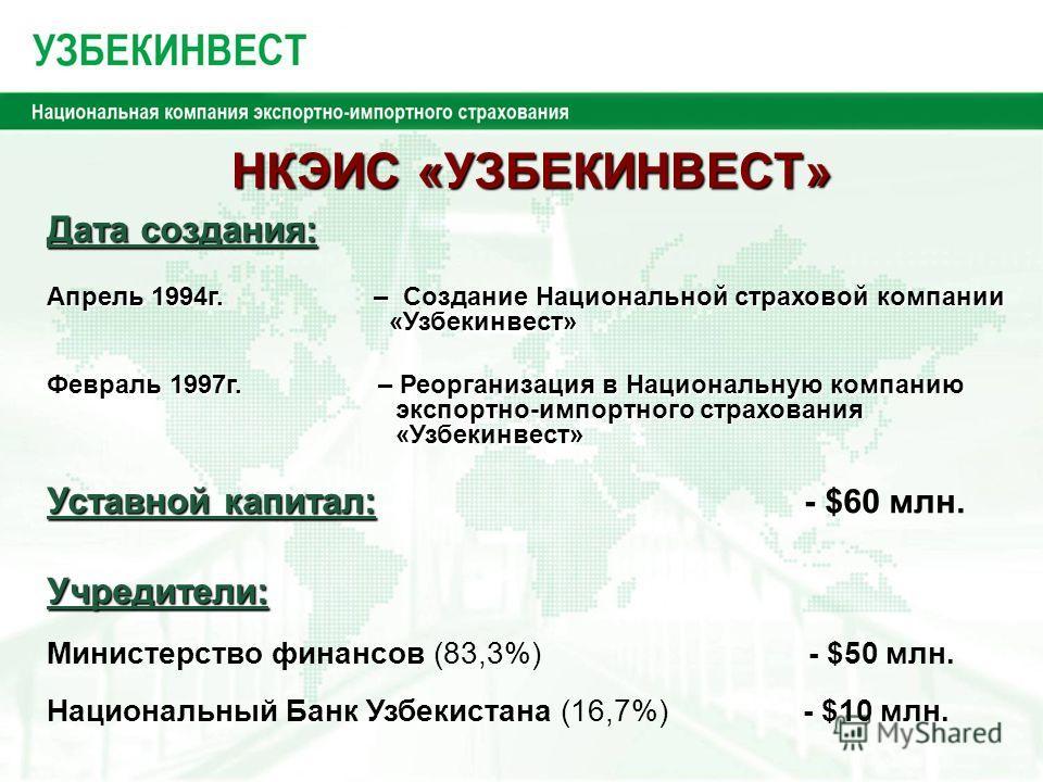 НКЭИС «УЗБЕКИНВЕСТ» НКЭИС «УЗБЕКИНВЕСТ» Дата создания: Уставной капитал: Уставной капитал: - $60 млн. Учредители: Министерство финансов (83,3%) - $50 млн. Национальный Банк Узбекистана (16,7%) - $10 млн. Апрель 1994г. – Создание Национальной страхово