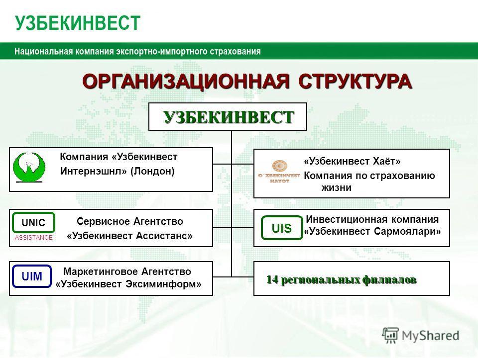 UIS UIM Инвестиционная компания «Узбекинвест Сармоялари» UNIC ASSISTANCE Сервисное Агентство «Узбекинвест Ассистанс» 14 региональных филиалов «Узбекинвест Хаёт» Компания по страхованию жизни ОРГАНИЗАЦИОННАЯ СТРУКТУРА ОРГАНИЗАЦИОННАЯ СТРУКТУРА УЗБЕКИН
