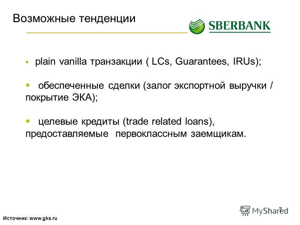 7 Возможные тенденции Источник: www.gks.ru plain vanilla транзакции ( LCs, Guarantees, IRUs); обеспеченные сделки (залог экспортной выручки / покрытие ЭКА); целевые кредиты (trade related loans), предоставляемые первоклассным заемщикам.