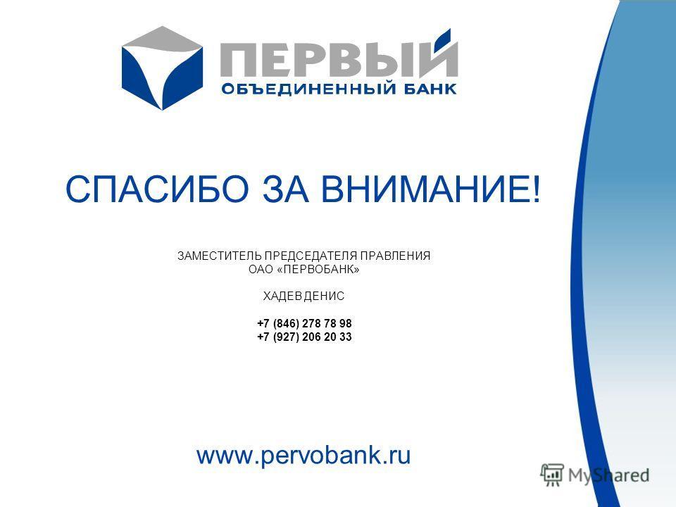 СПАСИБО ЗА ВНИМАНИЕ! ЗАМЕСТИТЕЛЬ ПРЕДСЕДАТЕЛЯ ПРАВЛЕНИЯ ОАО «ПЕРВОБАНК» ХАДЕВ ДЕНИС +7 (846) 278 78 98 +7 (927) 206 20 33 www.pervobank.ru