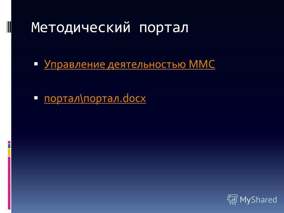 Методический портал Управление деятельностью ММС портал\портал.docx портал\портал.docx