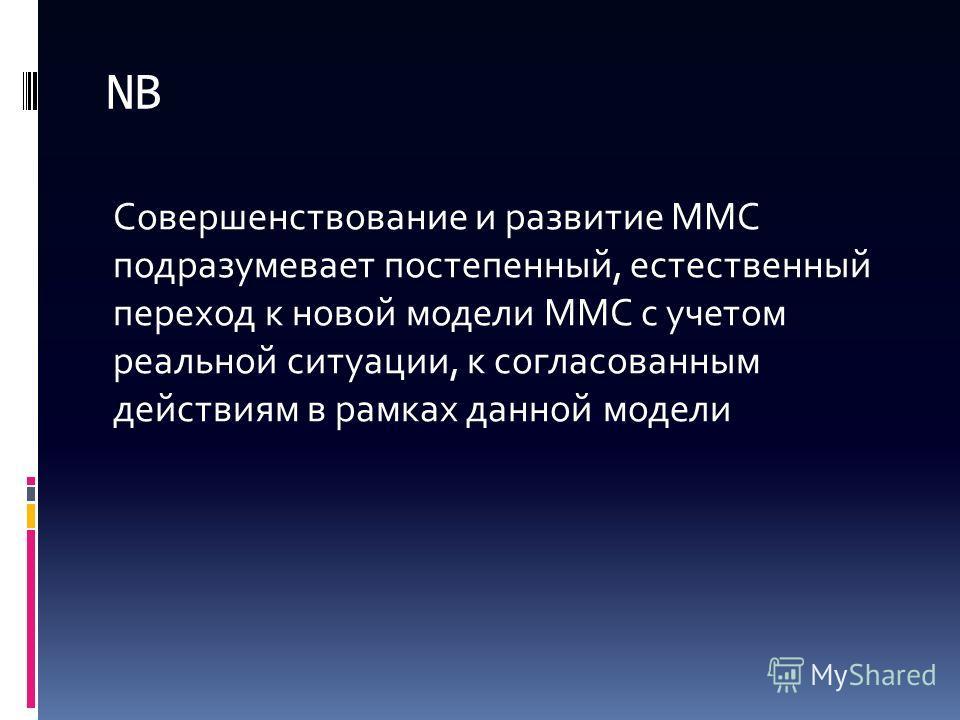 NB Совершенствование и развитие ММС подразумевает постепенный, естественный переход к новой модели ММС с учетом реальной ситуации, к согласованным действиям в рамках данной модели