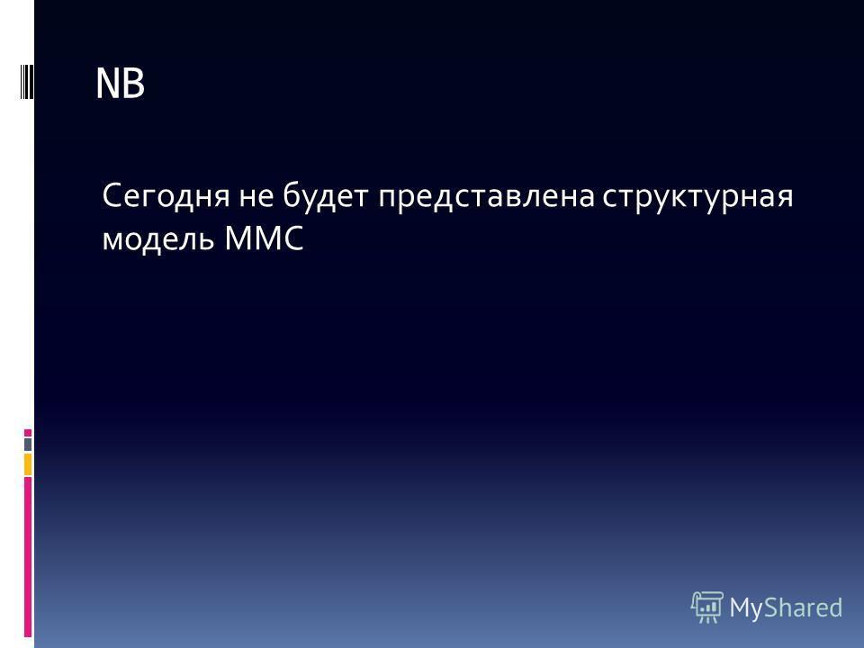 NB Сегодня не будет представлена структурная модель ММС