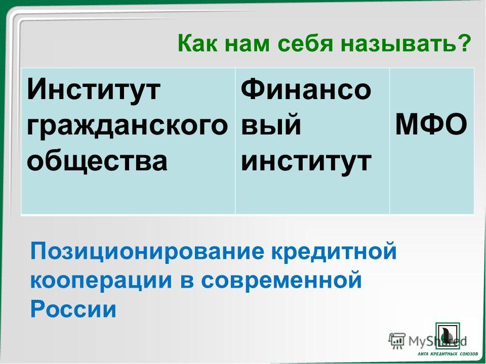 Как нам себя называть? Институт гражданского общества Финансо вый институт МФО Позиционирование кредитной кооперации в современной России