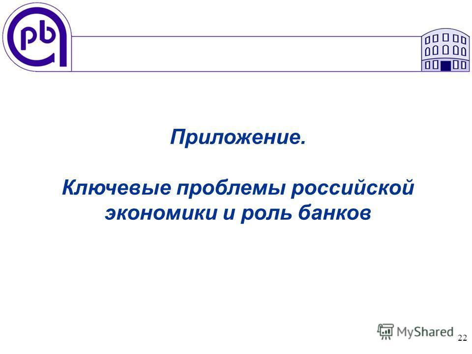 22 Приложение. Ключевые проблемы российской экономики и роль банков