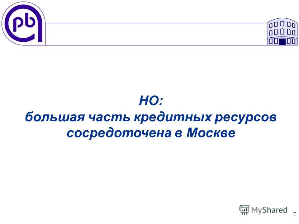 7 НО: большая часть кредитных ресурсов сосредоточена в Москве