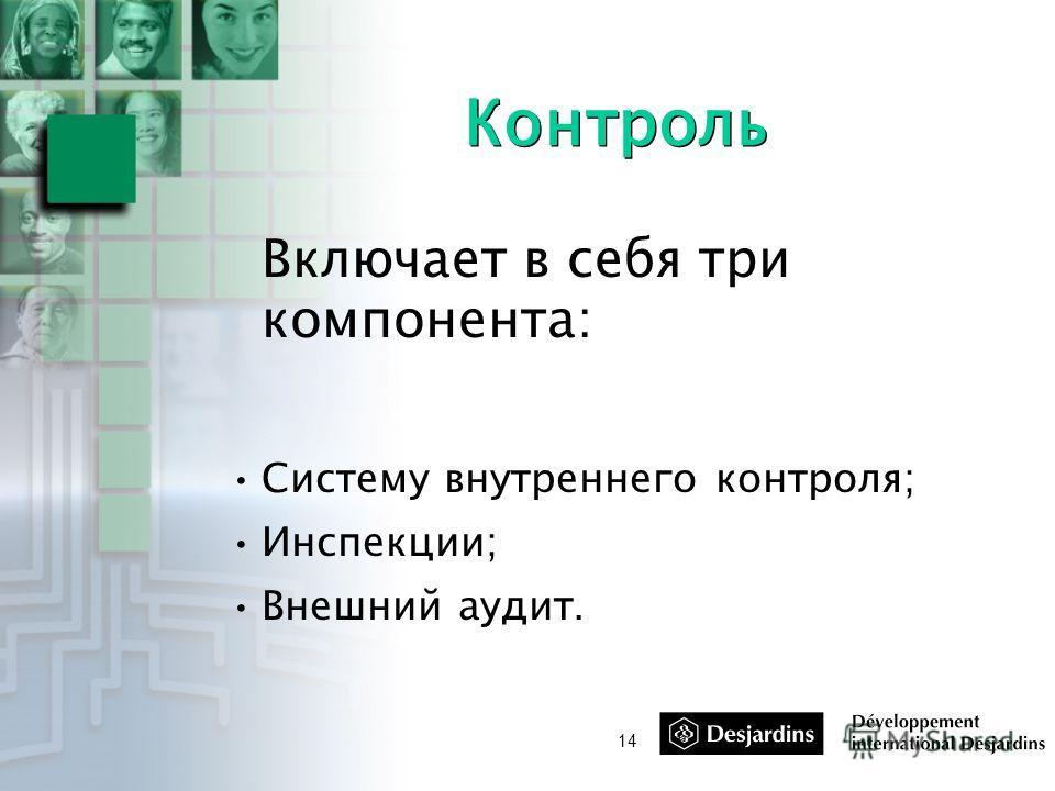 14 Контроль Включает в себя три компонента: Систему внутреннего контроля; Инспекции; Внешний аудит.