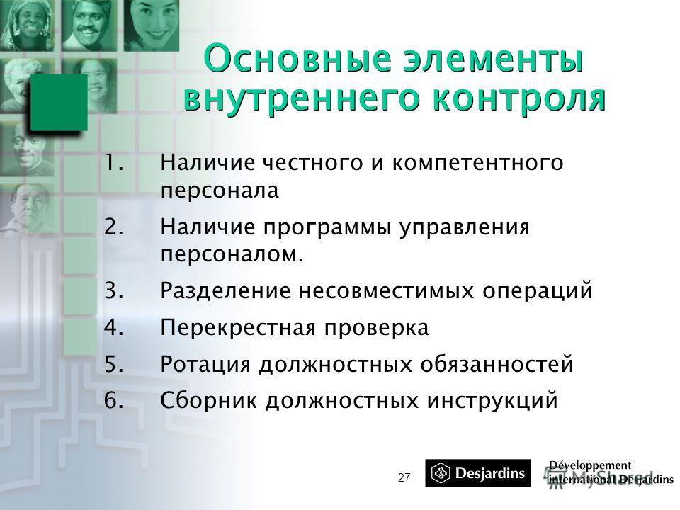 27 Основные элементы внутреннего контроля 1.Наличие честного и компетентного персонала 2.Наличие программы управления персоналом. 3.Разделение несовместимых операций 4.Перекрестная проверка 5.Ротация должностных обязанностей 6.Сборник должностных инс