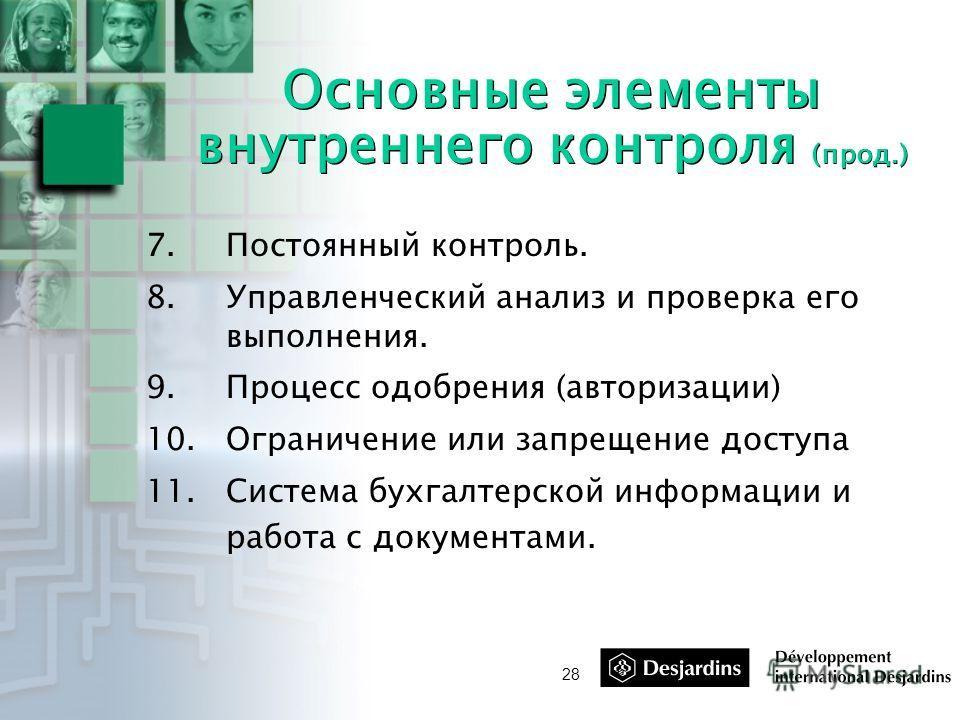 28 Основные элементы внутреннего контроля (прод.) 7.Постоянный контроль. 8.Управленческий анализ и проверка его выполнения. 9.Процесс одобрения (авторизации) 10.Ограничение или запрещение доступа 11.Система бухгалтерской информации и работа с докумен