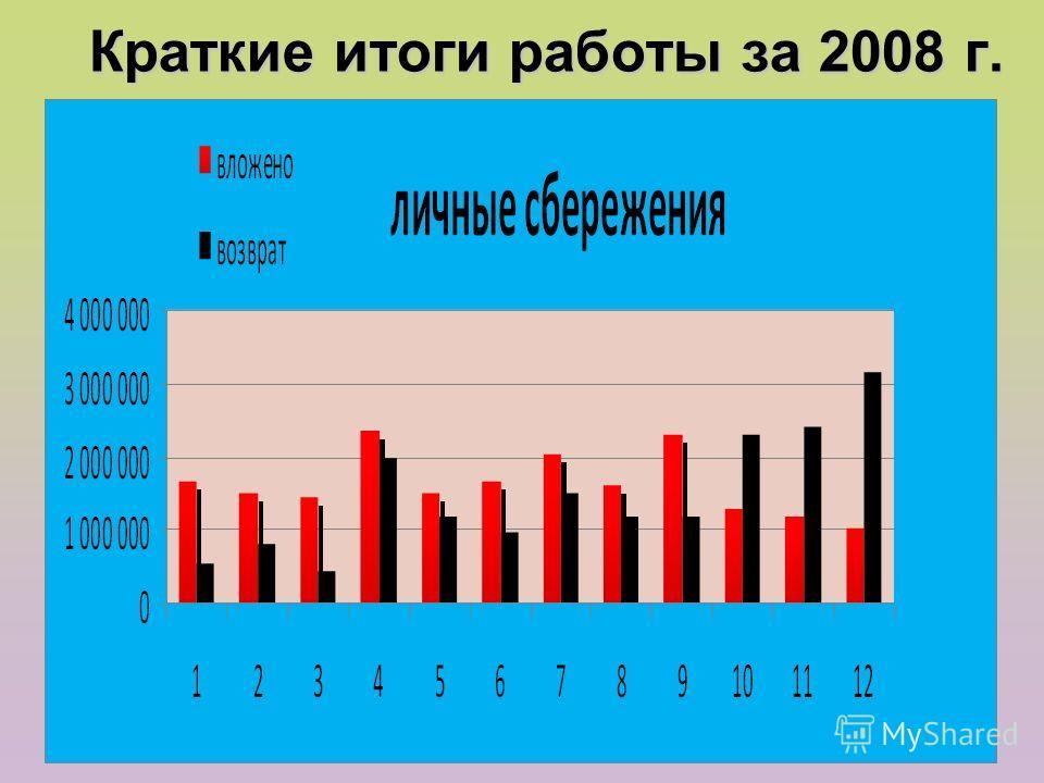 Краткие итоги работы за 2008 г.