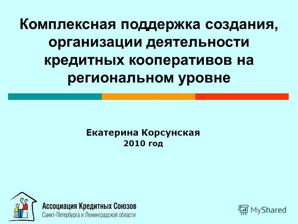 Екатерина Корсунская 2010 год Комплексная поддержка создания, организации деятельности кредитных кооперативов на региональном уровне