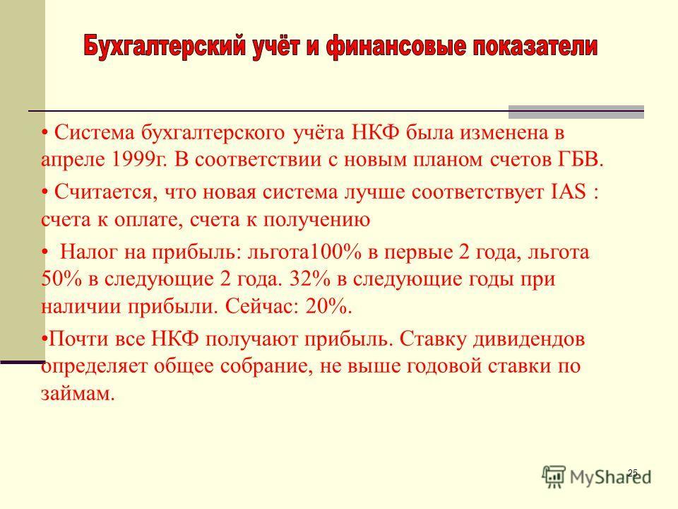 25 Система бухгалтерского учёта НКФ была изменена в апреле 1999г. В соответствии с новым планом счетов ГБВ. Считается, что новая система лучше соответствует IAS : счета к оплате, счета к получению Налог на прибыль: льгота100% в первые 2 года, льгота